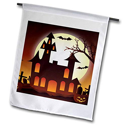 3dRose Sven Herkenrath Celebration - Halloween Illustration with Castle and Pumpkin Bat - 18 x 27 inch Garden Flag (fl_294685_2)