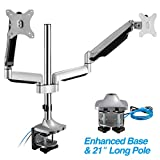 AVLT-Power Extra Height Adjustable Dual Monitor Mount with Two Gas Spring Arms Desk Stand, USB and Audio Ports - Aluminum, Heavy Duty Holds 13' to 32' Screens, Up to 19.8 lbs Each, VESA 75/100