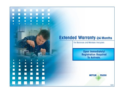 Mettler Toledo EW24 24 Month Extended Warranty for Balances and Moisture Analyzers