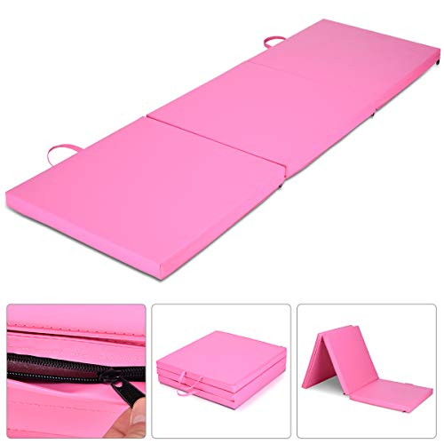 Giantex 6'x2′ Tri-Fold Gymnastics Mat with Carry Handles Tumbling Exercise Gym Mat for Aerobics, Yoga, Stretching, MMA (Pink)