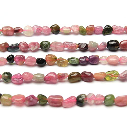 MJDCB Natural Irregular Shape Stone Beads 6-8mm Multicolor Tourmaline Gemstone Energy Cured for Jewelry Making - Color Tourmaline Necklace Multi