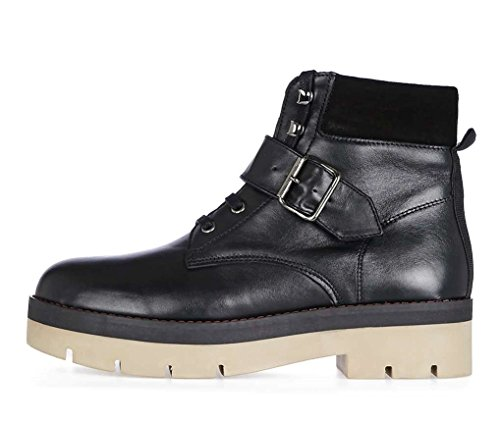 Trendy Highstreet Store Autumn Black Leather Hiker Boots with Buckle Strap dgiweEQ6