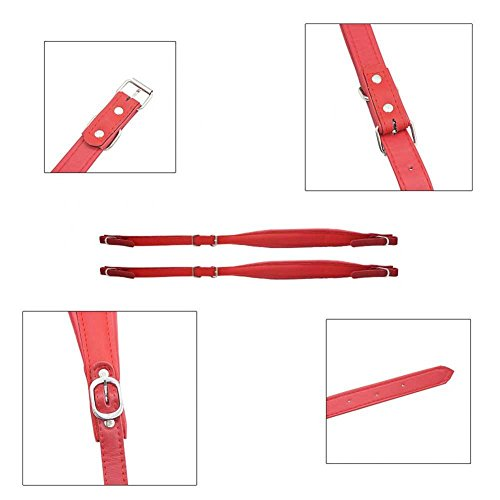 1 Pair Adjustable Accordion Shoulder Strap Durable PU Leather Arm Straps Set for Accordion (Red) by Vbestlife (Image #7)