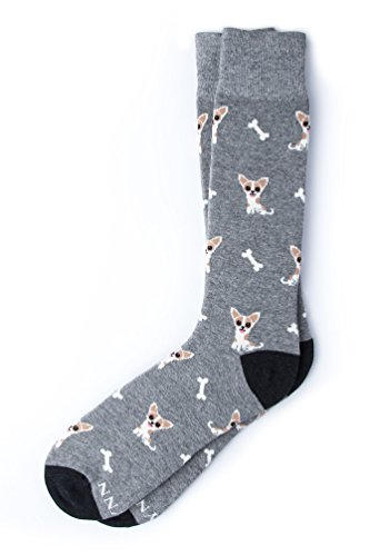 """""""Bone Appetit"""" Chihuahua Hipster Novelty Crew Carded Cotton Men's Socks (1 Pair) from Alynn"""