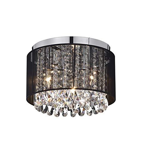 Chandeliers Flush Mount Light Fixture Crystal Chandelier Lighting Black Drum Ceiling Lights 3 Light