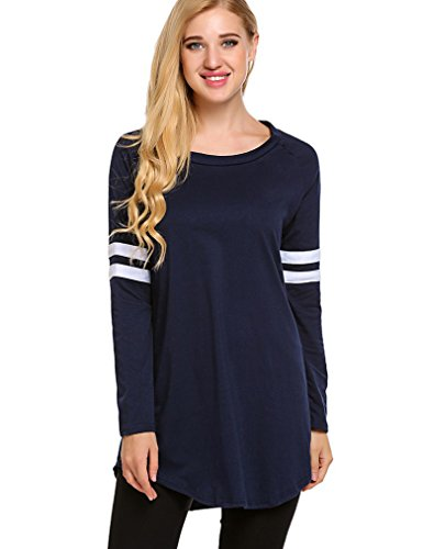 OURS Women s Loose Casual O-Neck Long Sleeve Baseball Raglan Jersey T-Shirts (M, Dark Blue)