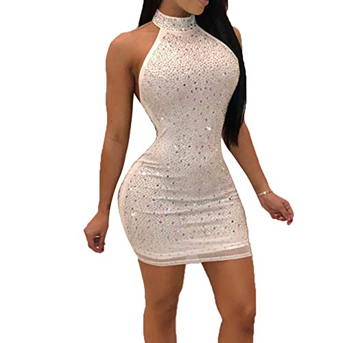 (Nhicdns Women Sexy Bodycon Sleeveless Diamonds Mesh Halter Beaded Rhinestones Backless Clubwear Party Mini Dress)