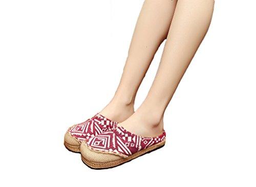 Ausom Femmes Casual Style Ethnique Pantoufles Broderie Backless Glisser Sur Mocassins Chaussures Rouge