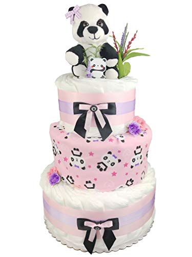Panda 3-Tier Diaper Cake - Girl Baby Shower Gift - Pink Black and White ()