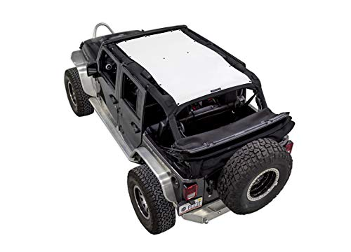 SPIDERWEBSHADE Jeep Wrangler Mesh Shade Top Sunshade UV Protection Accessory USA Made with 5 Year Warranty for Your JKU 4-Door (2007-2018) in White