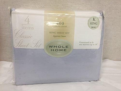 Whole Home Classic Sheet Set, 400 TC, Egyptian Cotton, King, Light Blue w/Dobby Dots and - Whole Home Set