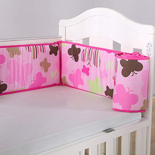 Wowelife Baby Crib Bumper Pink Butterfly Breathable Crib Bumper Pads 4 Piece 100% Soft Microfiber Polyester for Baby Girls(Pink Butterfly)