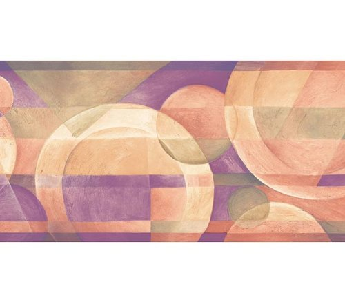 (Wallpaper Border Modern Circles with Purple Beige Green Contempoary Geometric)