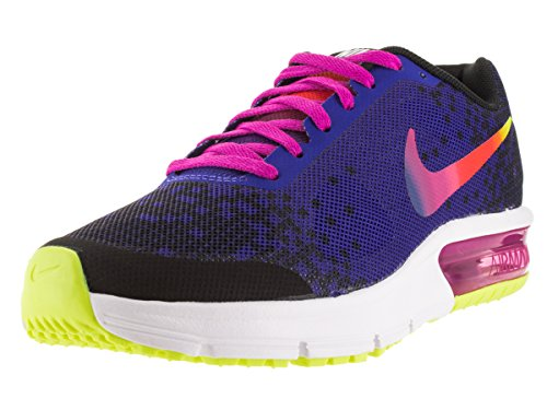 Nike Air Max Sequent Print (Gs), Zapatillas de Deporte para Niñas Negro / Rosa / Verde (Black / Deep Night-Fire Pink-Vlt)
