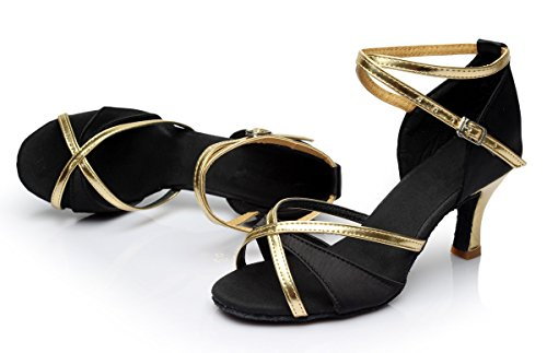 standard 7cm Shoes Triworiae Black heel Sandals Ballroom Dance Women's Latin txwzAgzRq