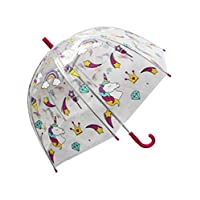 Girls Unicorn Umbrella Transparent Rainbow Dome Brolly