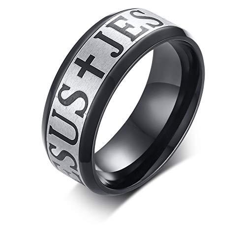 teel Black Jesus Ring Bible Christian Faith Signet Ring Cross Band for Men Women,Size 12 ()