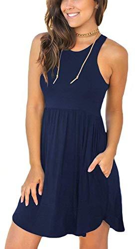 YUNDAI Women's Summer Sleeveless Loose Plain Dresses Casual Short Dress with Pockets Size S Navy Blue