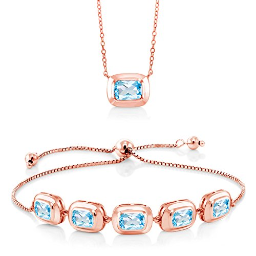 6.80 Ct Sky Blue Topaz 18K Rose Gold Plated Silver Pendant and Bracelet - Blue Topaz Bracelet Pendant