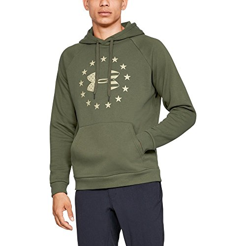 Under Armour Men's Freedom Rival Fleece logo hoodie, Marine Od Green (390)/Desert Sand, X-Large