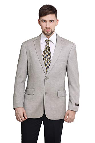 P&L Men's Modern Fit 2-Button Blazer Suit Separate Jacket Dove Gray