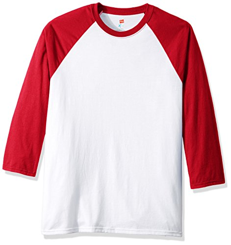 Hanes Men's X-Temp Raglan Baseball Tee, White/Deep Red, X-Large (Red Raglan)