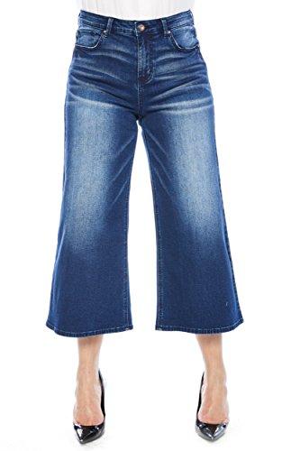 Jeans Rise Leg Mid Wide (Zelle Belle Women's Mid Rise Cropped Leg Denim Jeans)