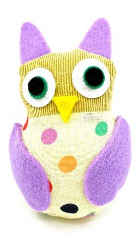 """Dritz Owl Pincushion,lilac,polka Dots,4.6""""l X 3""""w X 2""""d"""