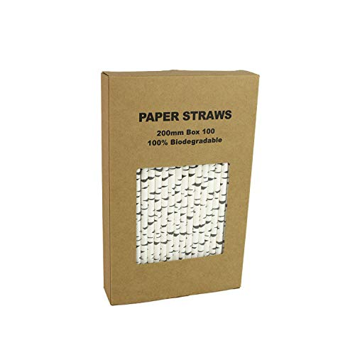 100 Pack Birch Bark Biodegradable Paper Straw for Birthdays, Weddings, Baby Showers,Thanksgiving Christmas Celebrations and Parties -
