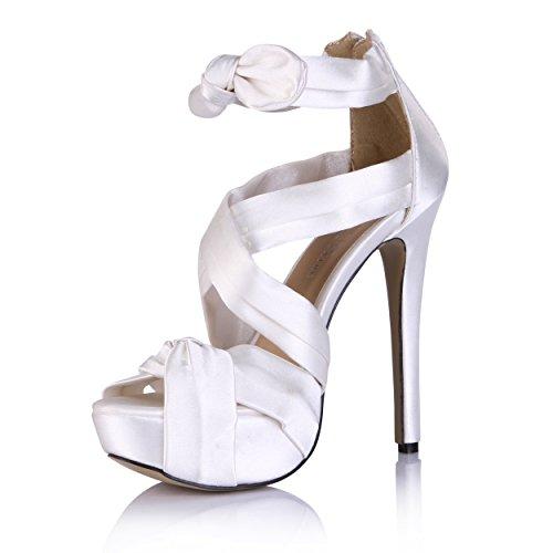 Bowtie Blanco SM00292 tacón Moda alto de Sandalias Señoras Blanco Zapatos de Plataforma corte DolphineGirl Mujer OqEw8qI
