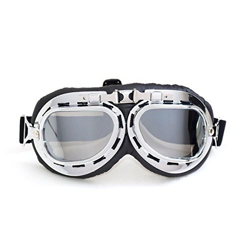 Sports Vintage Aviator Pilot Style Motorcycle Cruiser Scooter Goggle T08 T08STN Smoke lens, silver frame, brown padding - Aviator School Goggles Old
