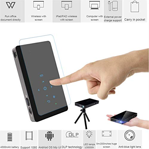 LLVV Smart DLP Portable Mini Projector with HD-MI WiFi BT Android 7.1 Home Projector with Battery Video Beamer,2g+16g from LLVV