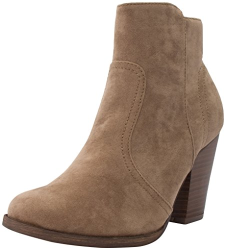Breckelles Women's HEATHER-34 Faux Suede Chunky Heel Ankle Booties Beige