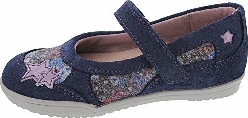 Helgas Modewelt Däumling Kinderschuhe, Ballerina für Mädchen, Lederschuhe blau (Turino jeans)