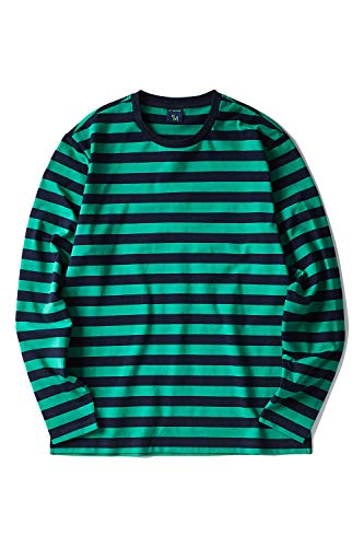 Zengjo Men's Casual Cotton Spandex Striped Crewneck Long-Sleeve T-Shirt Basic Pullover Stripe tee Shirt (XS, Navy&Green Wide)