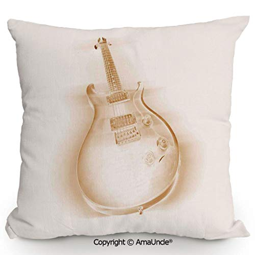 (SCOXIXI Summer Cushion Cover Printed Pillow Graphic of Electric Guitar On Plain Background Modern Hobbies Rock Pop Jazz Decor,W20xL20 Inches )