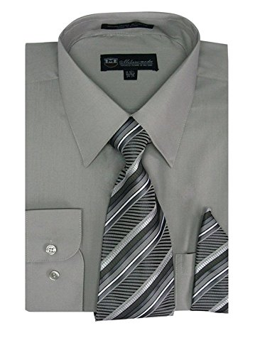 Milano Moda Men's Long Sleeve Dress Shirt With Matching Tie And Handkie SG21A-AshGray-16-16 1/2-34-35