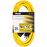 Woods 992553 25-Feet 12/3 SJTW High Visibility Extension Cord with Clip, Yellow