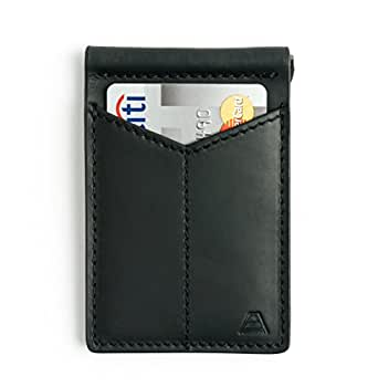 Andar Mens Leather Money Clip, Front Pocket Minimalist Card Holder RFID Blocking Wallet Made from Full Grain Leather, with Back Saving Bi-Fold Cash Clip (Black)