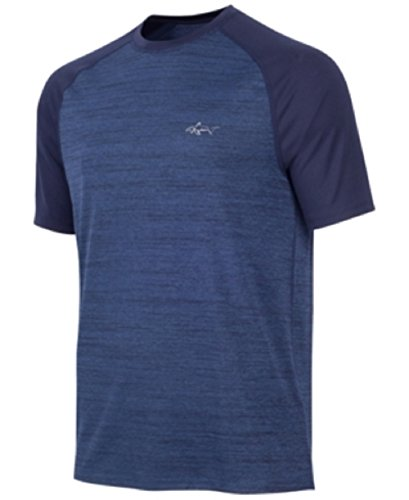Heathered Raglan T-shirt (Greg Norman Tasso Elba Mens Heathered Raglan Performance T-Shirt, Blue, X-Large)