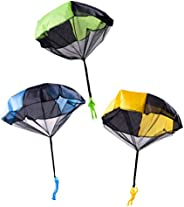 STOBOK 3PCS Hand Throwing Toy Parachute Outdoor Childrens Flying Toys Watching Landing Toys for Beach Backyard