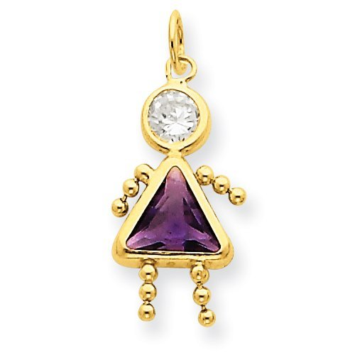 (14k Birthstone Girl Charm)