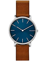 Men's 'Hagen' Quartz Stainless Steel and Leather Casual Watch, Color:Brown (Model: SKW6446)