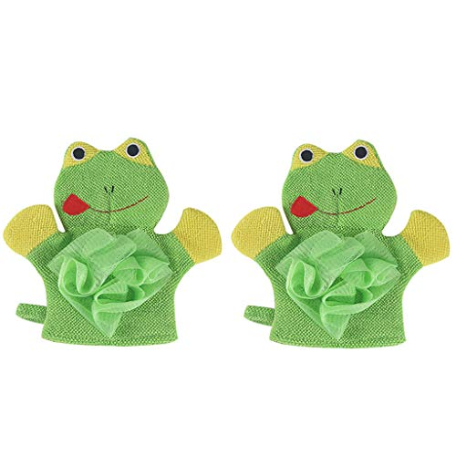2Pcs Cute Cartoon Rabbit/Frog Baby Kids Bath Shower Gloves Sponge Body Scrubber Cleansing Healthy Gifts for Kids Baby Amiley (2Pcs(Green Frog))