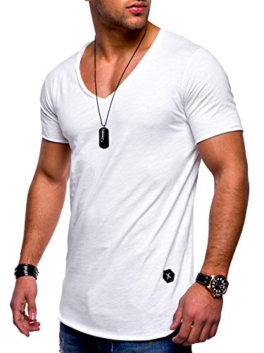 behype. Men's Basic V-Neck Casual Fashion Hipster T-Shirt Muscle Longline Tee Casual Premium Top MT-7102 (L,White) ()