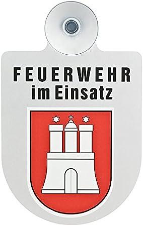 Paco Deutschland E K Feuerwehr Im Einsatz Kfz Aluschild Mit Saugnapf Und Bundesland Wappen Hamburg Auto