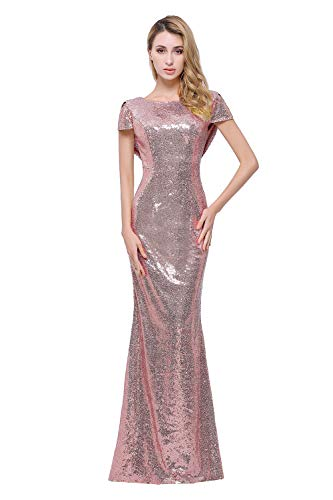 Sparkle Bridesmaid Dress - Sparkle Rose Gold Sequins Bridesmaid Dresses Modest Long Prom Evening Gowns,Rose Gold,2,2,Rose Gold