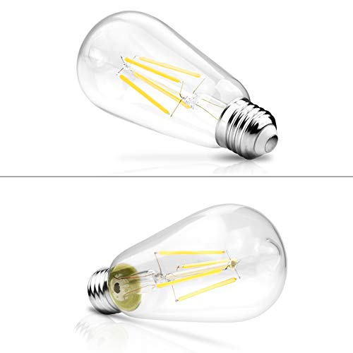 Dimmable Ascher Vintage LED Edison Bulbs, 6W, Equivalent 60W, Bright Daylight White 4000K, ST58 Antique LED Filament Bulbs, E26 Medium Base, Clear Glass, Pack of 6