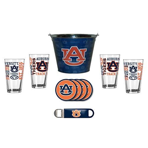 NCAA Auburn - Tonal Wrap Ice Bucket, Spirit Pint Glasses (4), Coasters (4) & Bottle Opener Set | Auburn Tigers Beer Bucket Gift Set