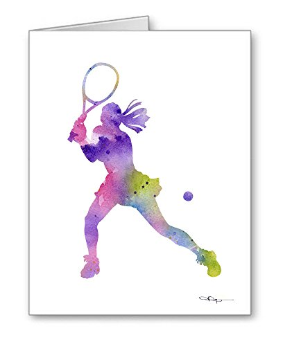 Tennis Player Set of 10 Art Note Cards by Watercolor Artist DJ Rogers (Tennis Card Set)